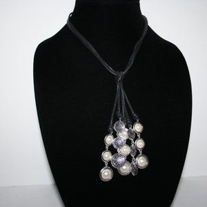 Vintagejelyfish Jewelry - Beautiful black leather silver and pearl necklace